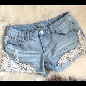 Almost Famous Light Denim Lace Shorts